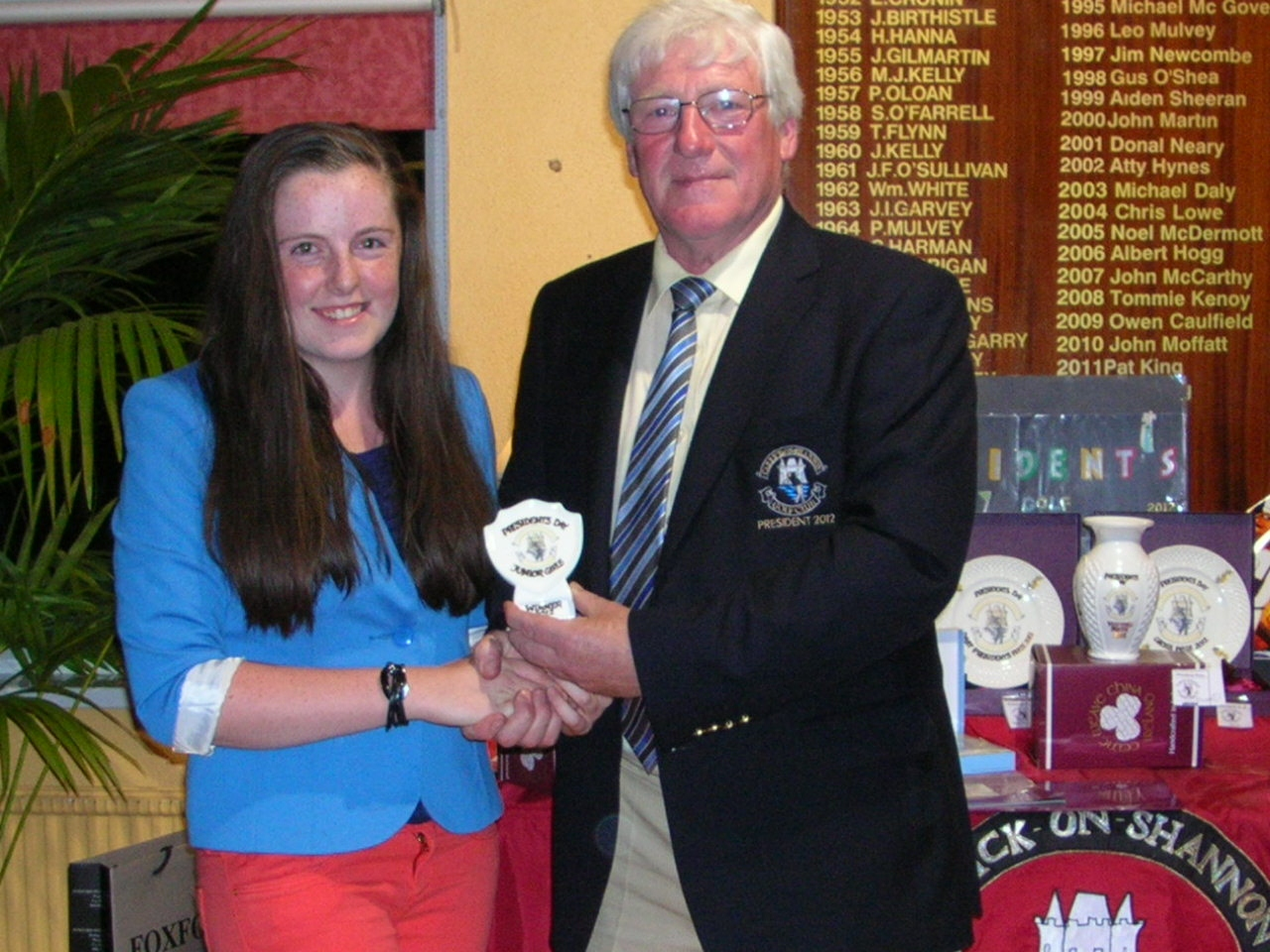 Eimear Gallagher is presented with The President's Plaque to Junior Golfers 2012 by President PJ Sharkey