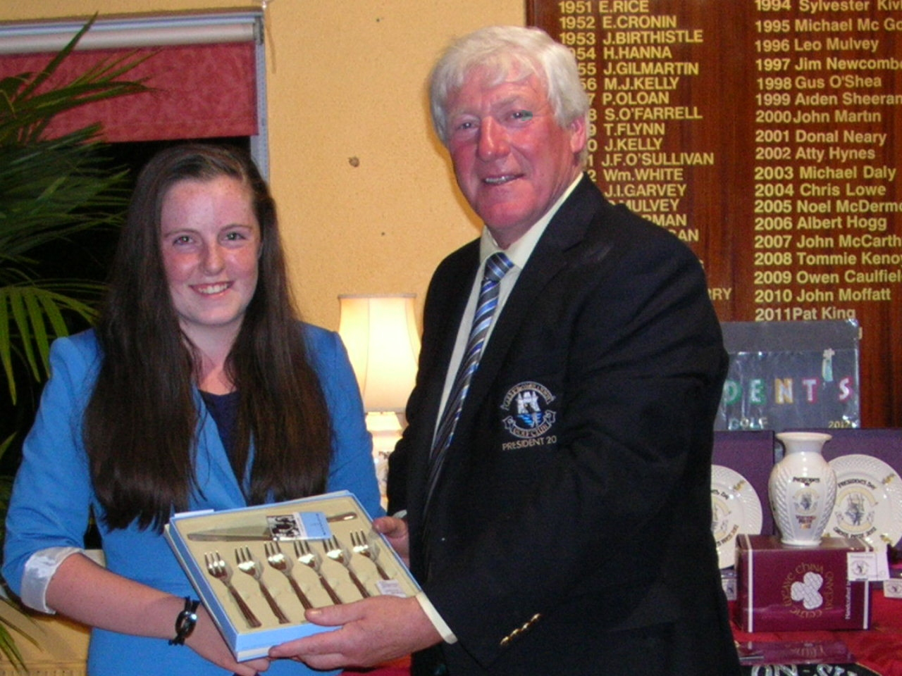 President PJ Sharkey presents Eimear Gallagher with 3rd Prize