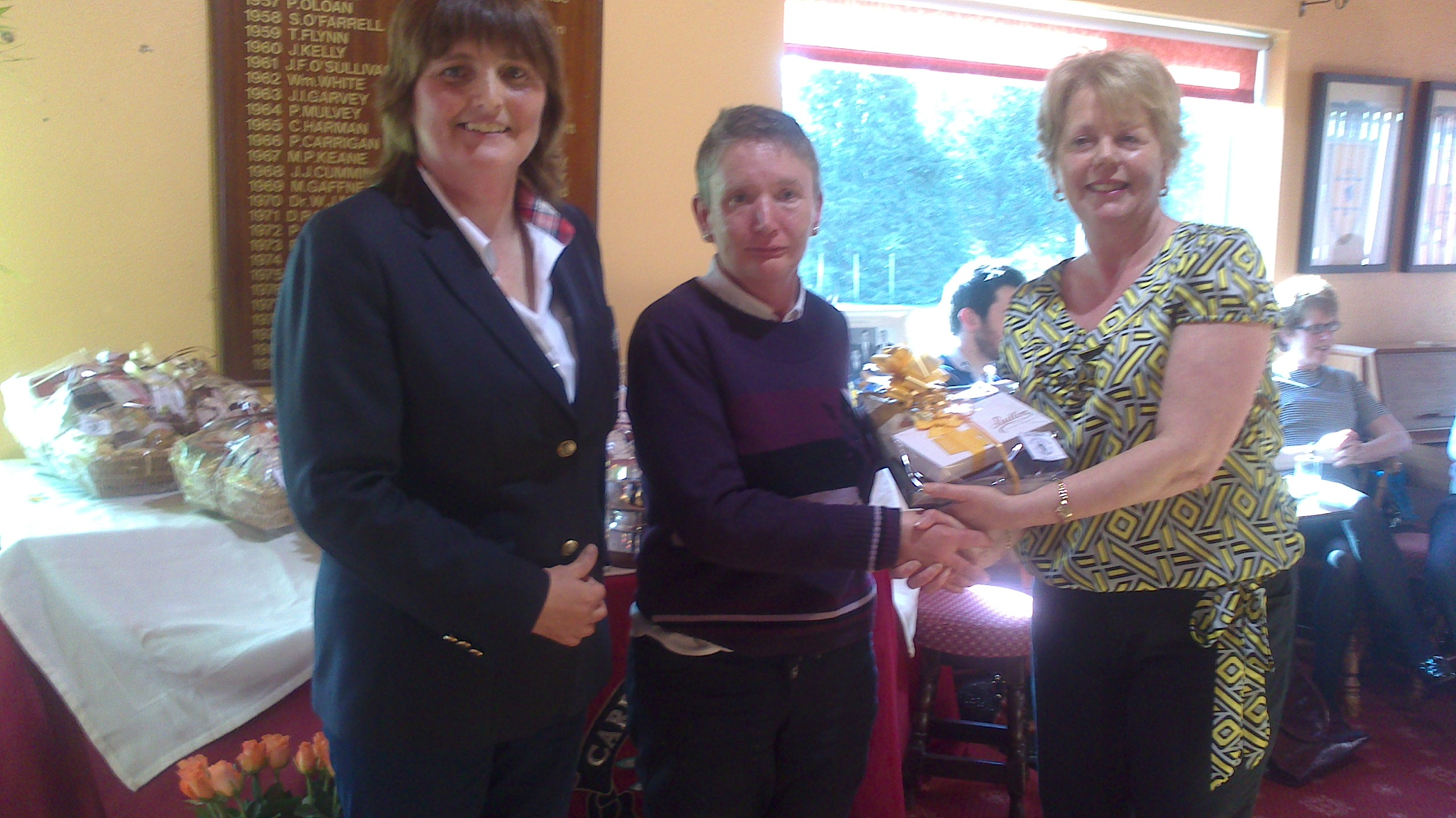 Maria Talbot Perpetual Trophy at Carrick on Shannon Golf Club.  Attracta O'Connor is  presented with 36 HC winner by Mary Talbot and Lady Captain Dolores Mulvey
