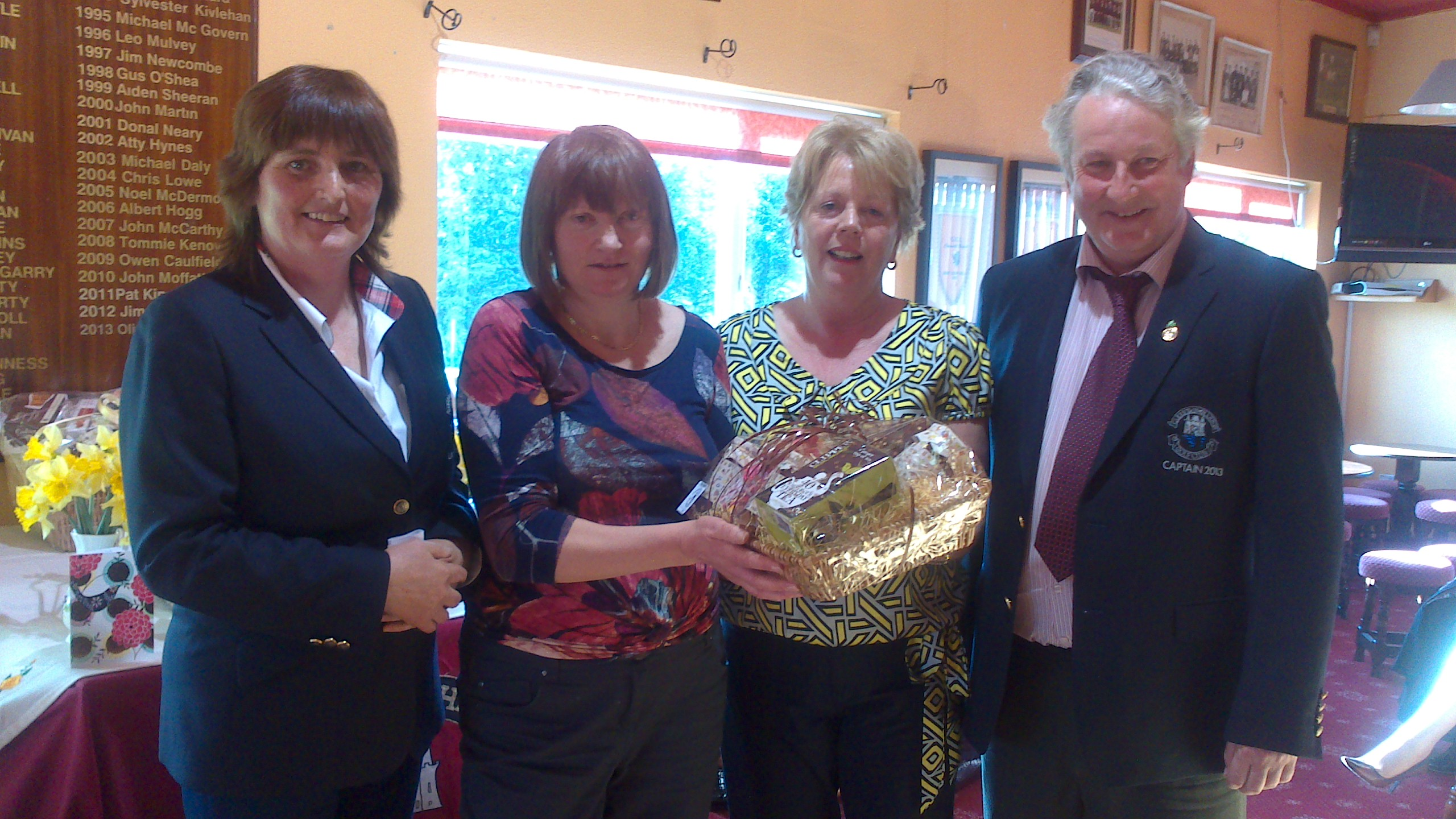 Presentation at Carrick On Shannon Golf Club. Mary Talbot presents Front 9 prize in Maria Talbot Perpetual Trophy to Mary Molloy. Picture also includes Lady Captain Dolores Mulvey and Captain Oliver Curran