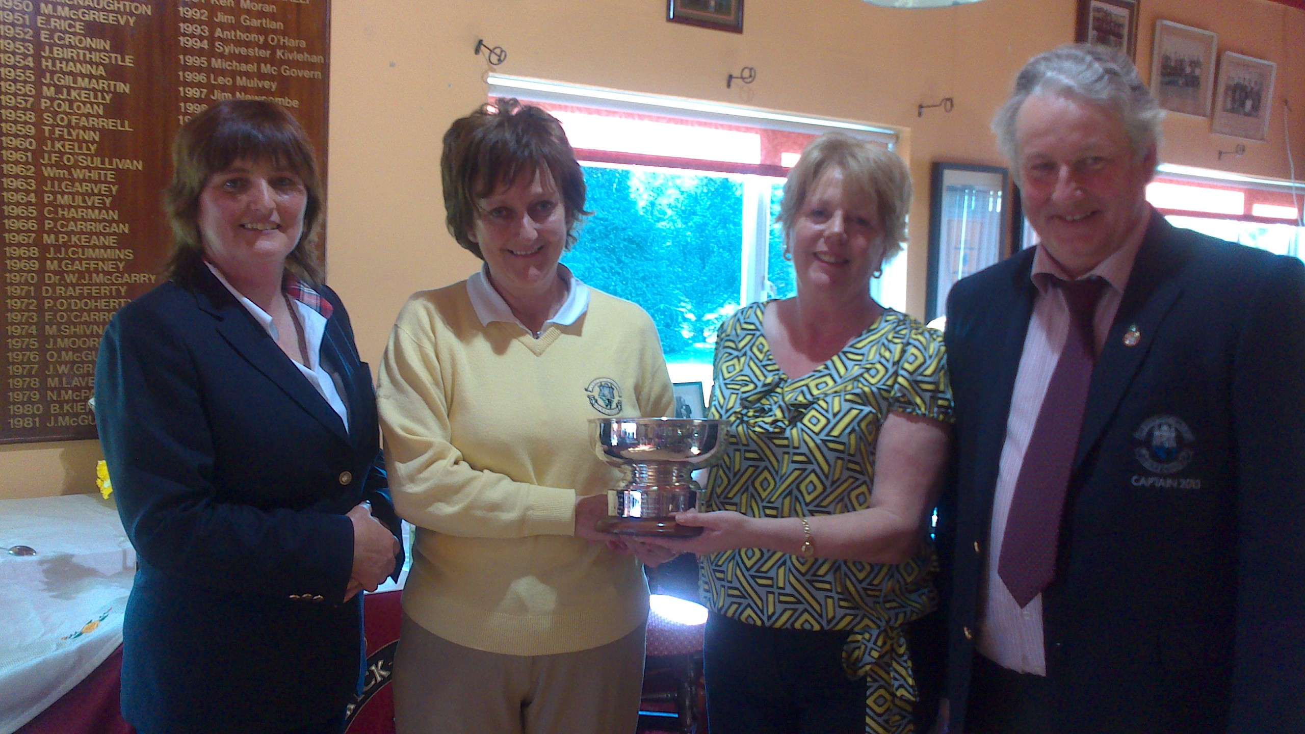 Renee Dolan winner of  the 2013 Maria Talbot Perpetual Trophy pictured with Lady Dolores Mulvey, Mary Talbot and Captain Oliver Curran
