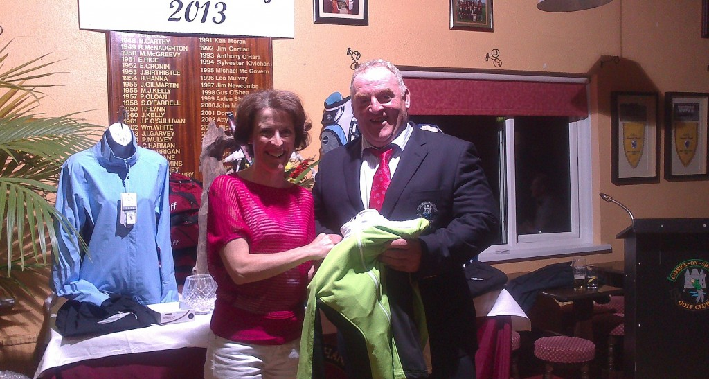 Ger Farry pictured receiving Gross Prize on Presidents Day from Club President Mickey Daly