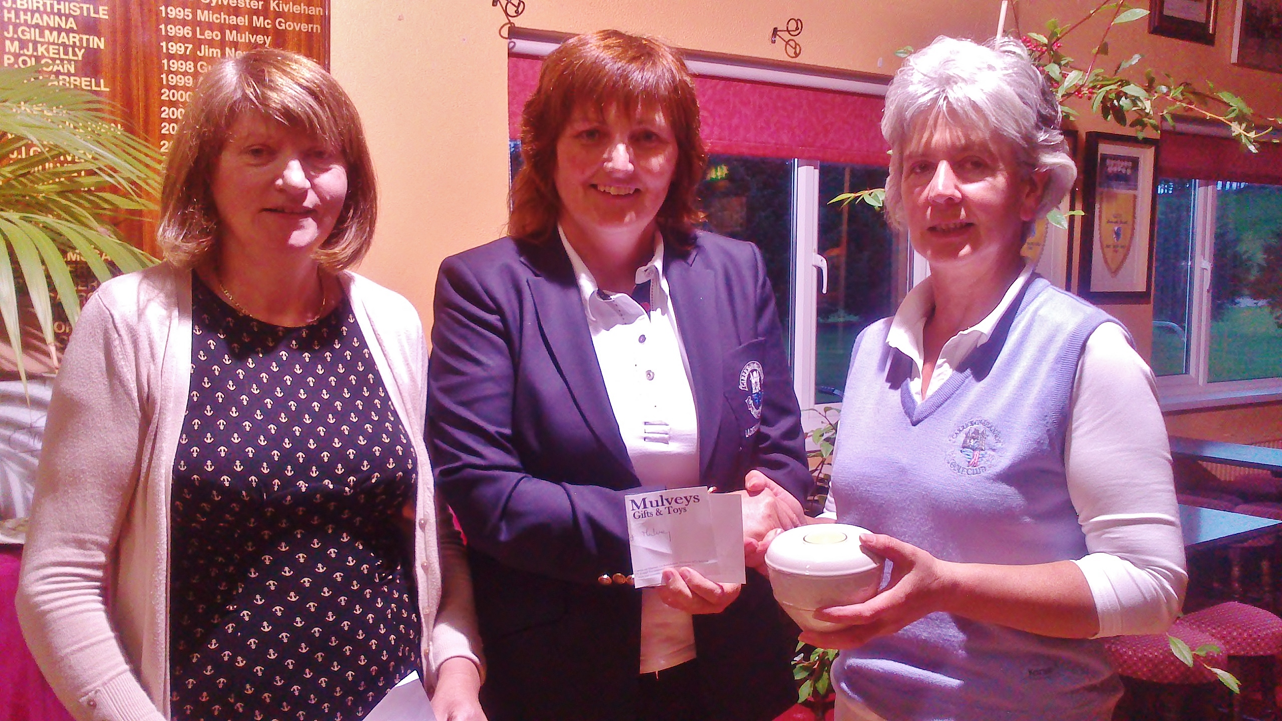 Phil McWeeney is presented with Gross Prize In The Mulvey House of Gifts Stableford