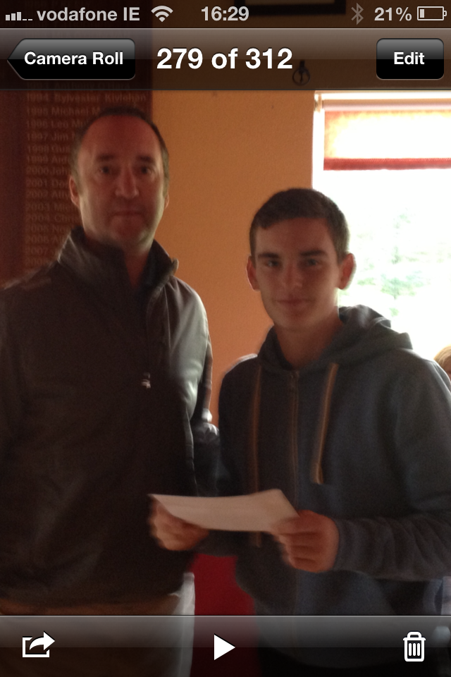 Junior Conveyor Eamonn McGirl presents First Prize in both the Cryans and Jones Oil Junior Competitions.