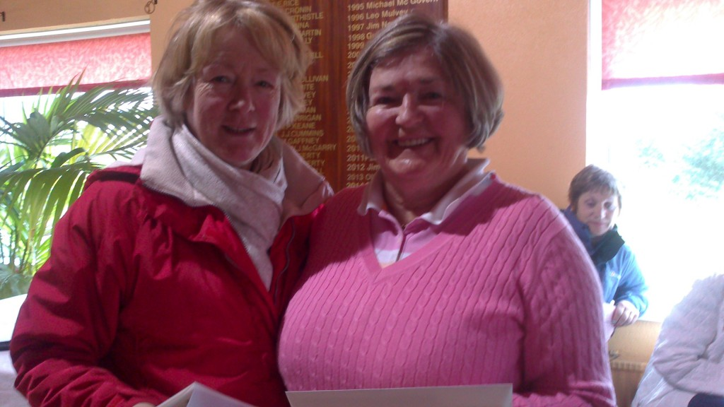 Ann Campbell is presented with Third Prize by Marie Leyden in March Alliance