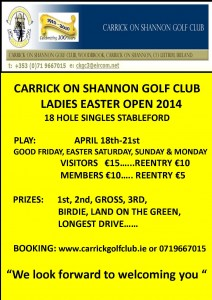 Carrick on Shannon Golf Club Ladies Easter Open 2014