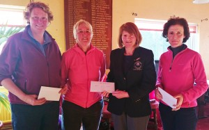 Mary Molloy Lady Captain Carrick on Shannon Golf Club presents Ann Keenan, Ger Prendiville and Ger Farry winners of The Ardcarne Garden Centre  Scramble.