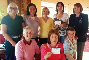 Presentation of King & Moffatt Spring Spree at Carrick on Shannon Golf Club: Lady Captain Mary Molloy and  Ita King( King & Moffatt) presenting Gabrielle Madsen, Brenda Kelly, Mary King(back row) and Mary O'Rourke, Frances Molloy and Attracta O'Connor
