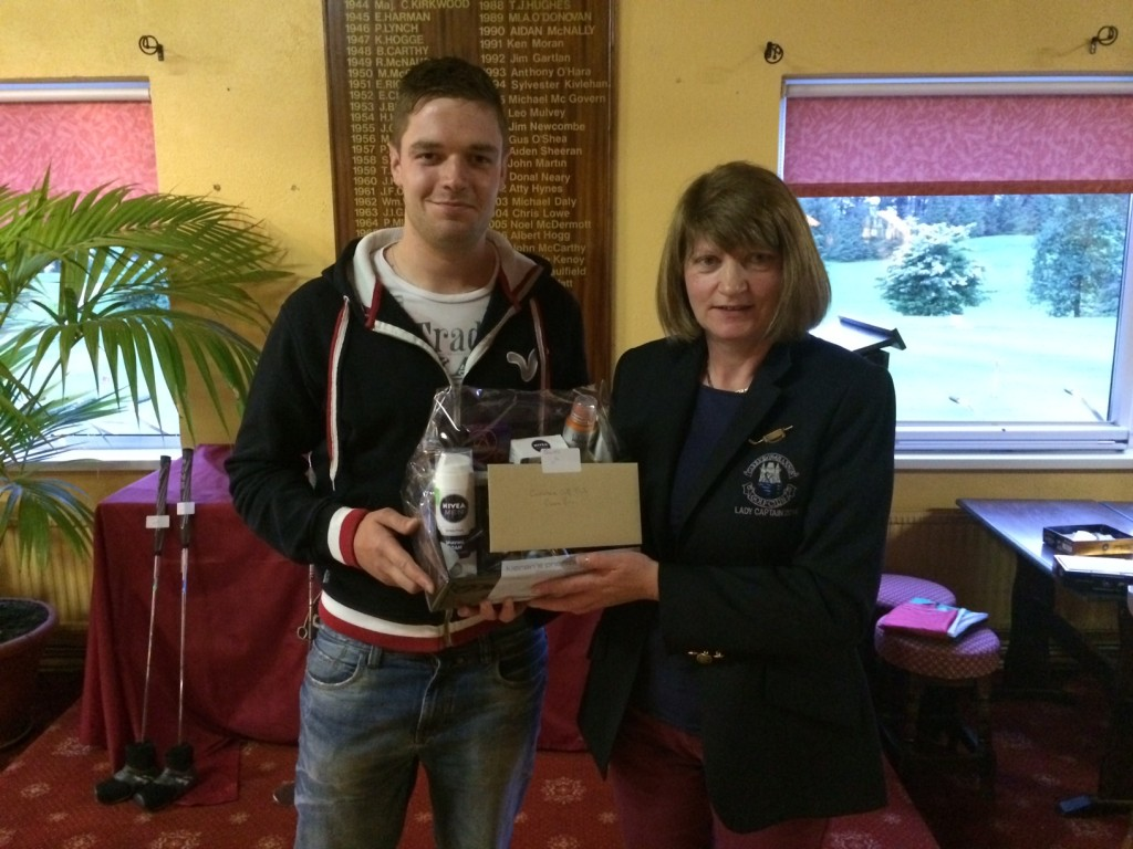 Lady Captain Mary Molloy presents Fourth Prize Jason Loftus(pictured)and Tommy Ahern.