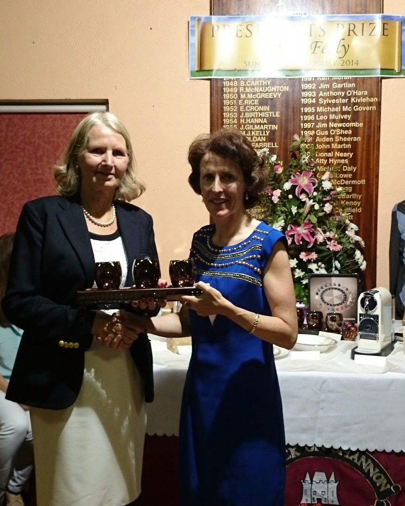 Club President Esther Feely pictured presenting winner Front 9 Presidents Day to Ger Farry