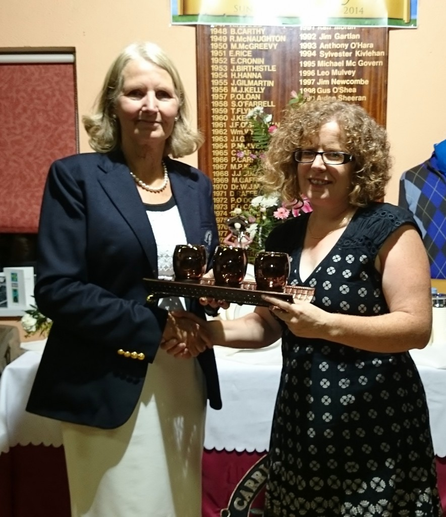 Siobhan Talbot Winner Back 9 on Presidents Day pictured receiving prize from Club President Esther Feely