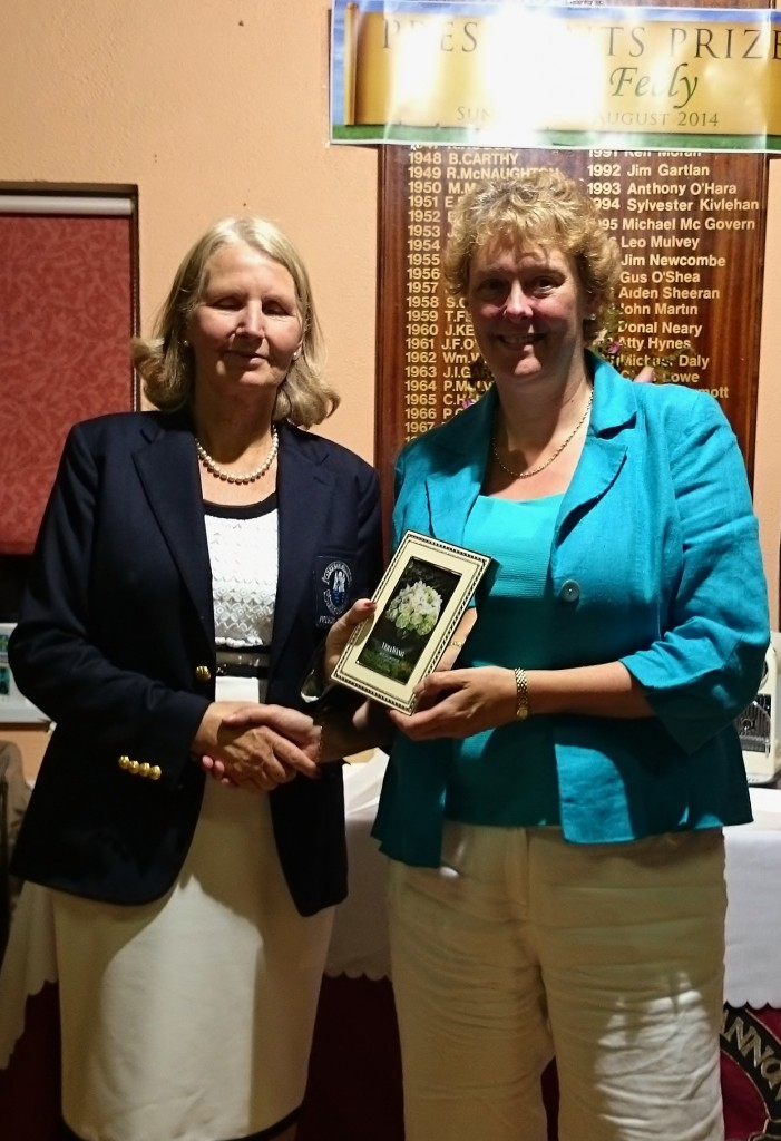 Ann Keenan Gross Winner President's Day pictured receiving her prize from Club President Esther Feely