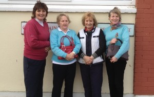 Dolores Mulvey and Mary King pictured with ladies from Longford Golf Club in first round of Daily Mail Foursomes.