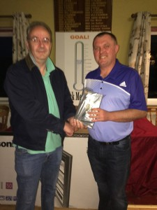 Alan Ffrench had a very eventful day, finished 5th with 68 including a 10 on 9 & got cut 2 shots. Receives his prize from David McGarry.