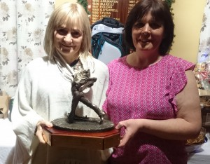 Mary King is presented with Golfer of the Year 2015 by Competition Secretary Brenda Kelly.