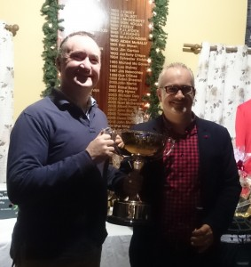 Outgoing Captain Eamonn presents Golfer of the Year to Brendan Boyle.