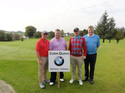 L/R Paul Reid Brian Baldrey Colm Rigley Pat Sullivan all from Dublin who competed in the Colm Quinn BMW Athlone Sponsored Carrick Golf Club Annual Golf Classic over the weekend of Oct 7-9