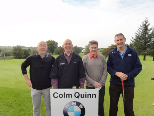 L/R Paul Cullen Simon O'Gorman Charlie Farrell & Liam Bruen who played on Sat in Colm Quinn BMW Athlone Sponsored Carrick Golf Club Annual Golf Classic over the weekend of Oct 7-9