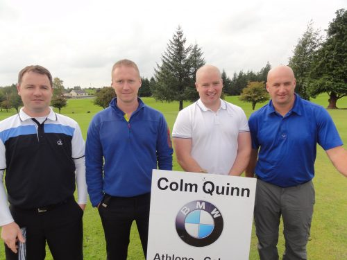 L/R Padraig MacShera Paul Roche Mark McDermott & Niall Roche who played on Sat in Colm Quinn BMW Athlone Sponsored Carrick Golf Club Annual Golf Classic over the weekend of Oct 7-9