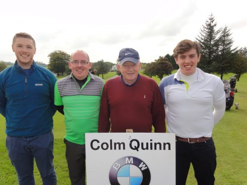 L/R Dylan Beirne John Coffey Noel & Kevin McDermott who played on Sat in Colm Quinn BMW Athlone Sponsored Carrick Golf Club Annual Golf Classic over the weekend of Oct 7-9