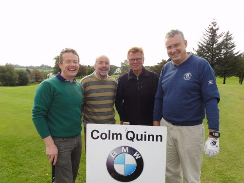 L/R Joe Lowe Sean McGowan Alfred Geitz & Frank Curran who played on Sat in Colm Quinn BMW Athlone Sponsored Carrick Golf Club Annual Golf Classic over the weekend of Oct 7-9