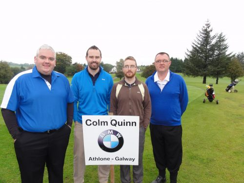 L/R Gary Vesey Martin Carrington Paul Weafer & Alan Ffrench who played on Sun in Colm Quinn BMW Athlone Sponsored Carrick Golf Club Annual Golf Classic over the weekend of Oct 7-9