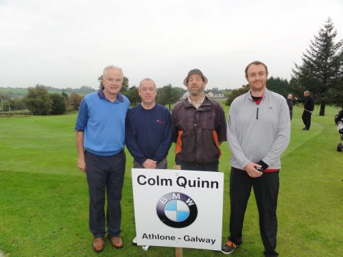 L/R Pascal McGuire Niall McGreevy Tom Martin & Frank Duffy who played on Sun in Colm Quinn BMW Athlone Sponsored Carrick Golf Club Annual Golf Classic over the weekend of Oct 7-9