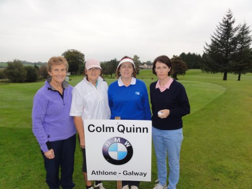 L/R Carrick Ladies team Lorna Baker Phil Emmett Noeleen Moffatt & Geraldine Farry who played on Sun in Colm Quinn BMW Athlone Sponsored Carrick Golf Club Annual Golf Classic over the weekend of Oct 7-9