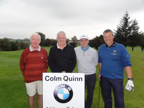 L/R Vincent McMorrow Tommy Mulvey Jimmy Egan & Colm Griffin who played on Sun in Colm Quinn BMW Athlone Sponsored Carrick Golf Club Annual Golf Classic over the weekend of Oct 7-9